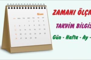 1. Sınıf Zaman Ölçüleri Takvim (Gün-Hafta-Ay-Yıl)