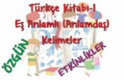 Türkçe Kitabı-1 Eş (Anlamdaş) Kelimeler Etkinliği