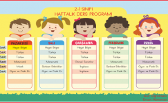 2. Sınıf Haftalık Ders Çizelgesi