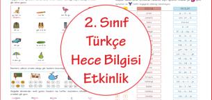 2. Sınıf Türkçe Hece Bilgisi Etkinlik