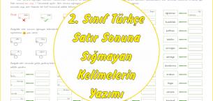 2. Sınıf Türkçe Satır Sonuna Sığmayan Kelimeler
