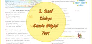 2. Sınıf Türkçe Cümle Bilgisi Değerlendirme Test