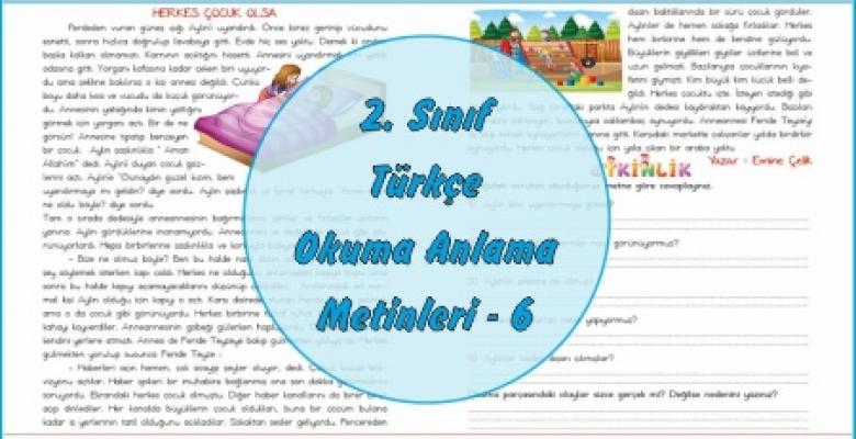 2. Sınıf Türkçe Okuma Anlama Metni – 6