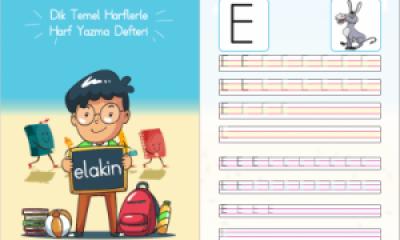 Temel Dik Harflerle Harf Yazma Defteri