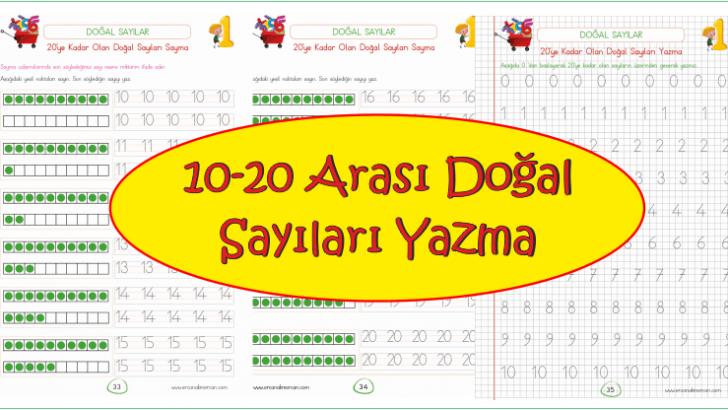 10 20 Arasi Dogal Sayilari Sayma Ve Yazma Ercan Akmercan