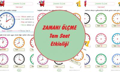 1. Sınıf Zaman Ölçüleri Saat ( Tam Saat )