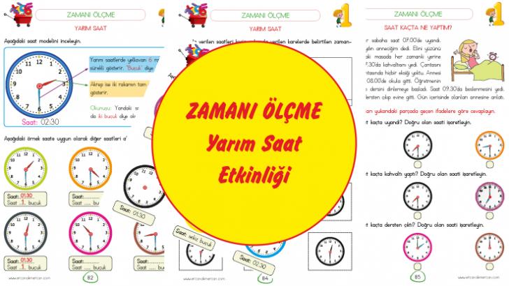 1 Sinif Zaman Olculeri Saat Yarim Saat Etkinlikleri Ercan