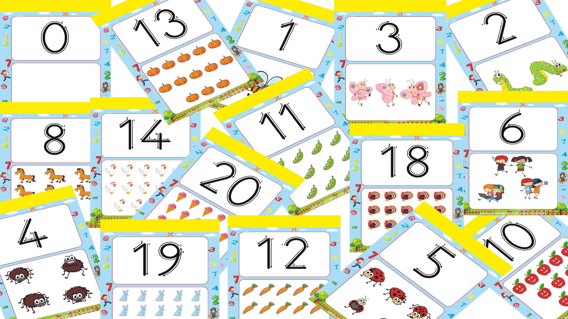 Sayı kartları 1-20 arası