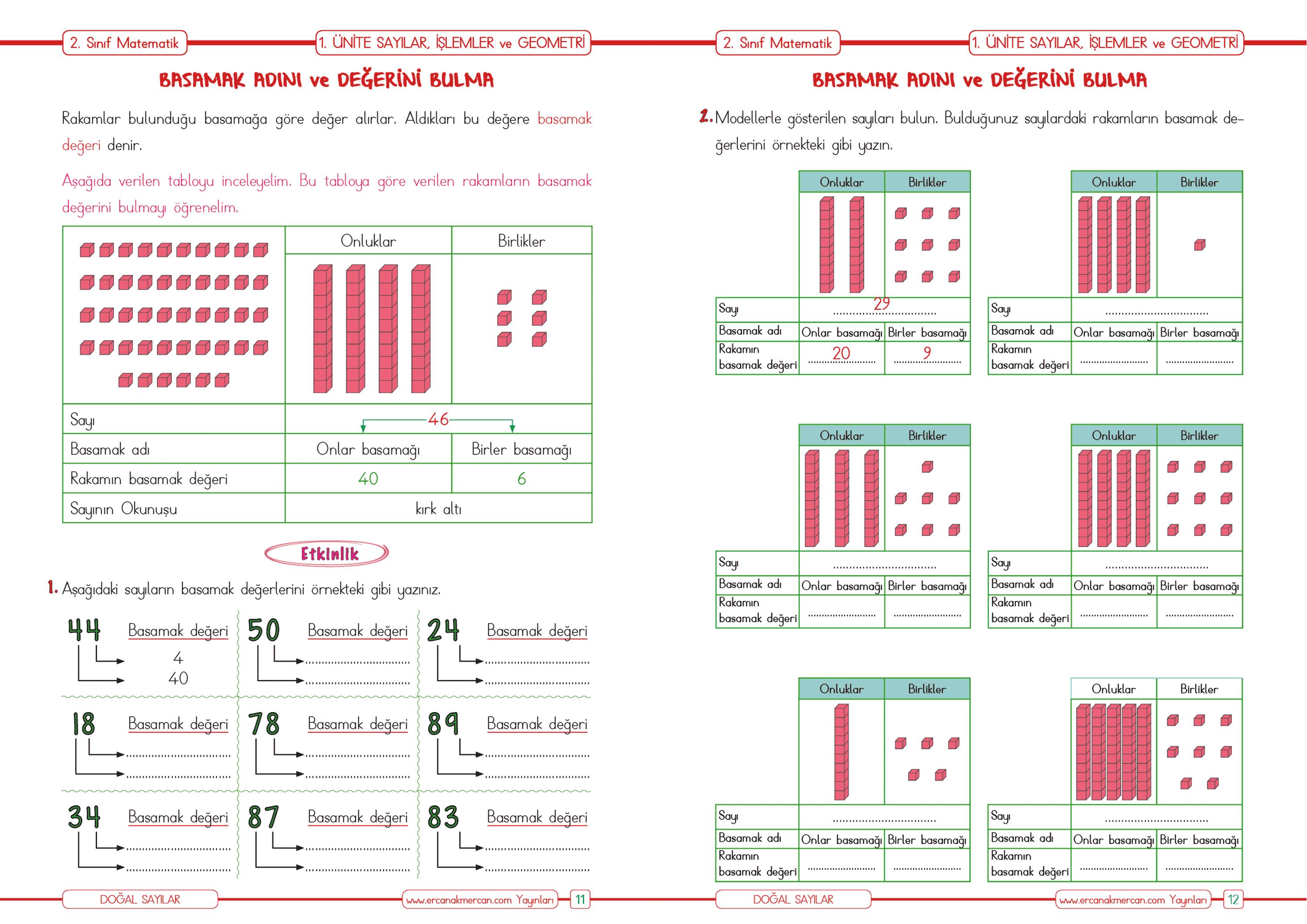 2 Sinif Matematik Dogal Sayilarin Basamak Degeri Ercan Akmercan