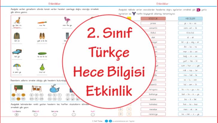 2 Sinif Turkce Hece Bilgisi Etkinlik Ercan Akmercan