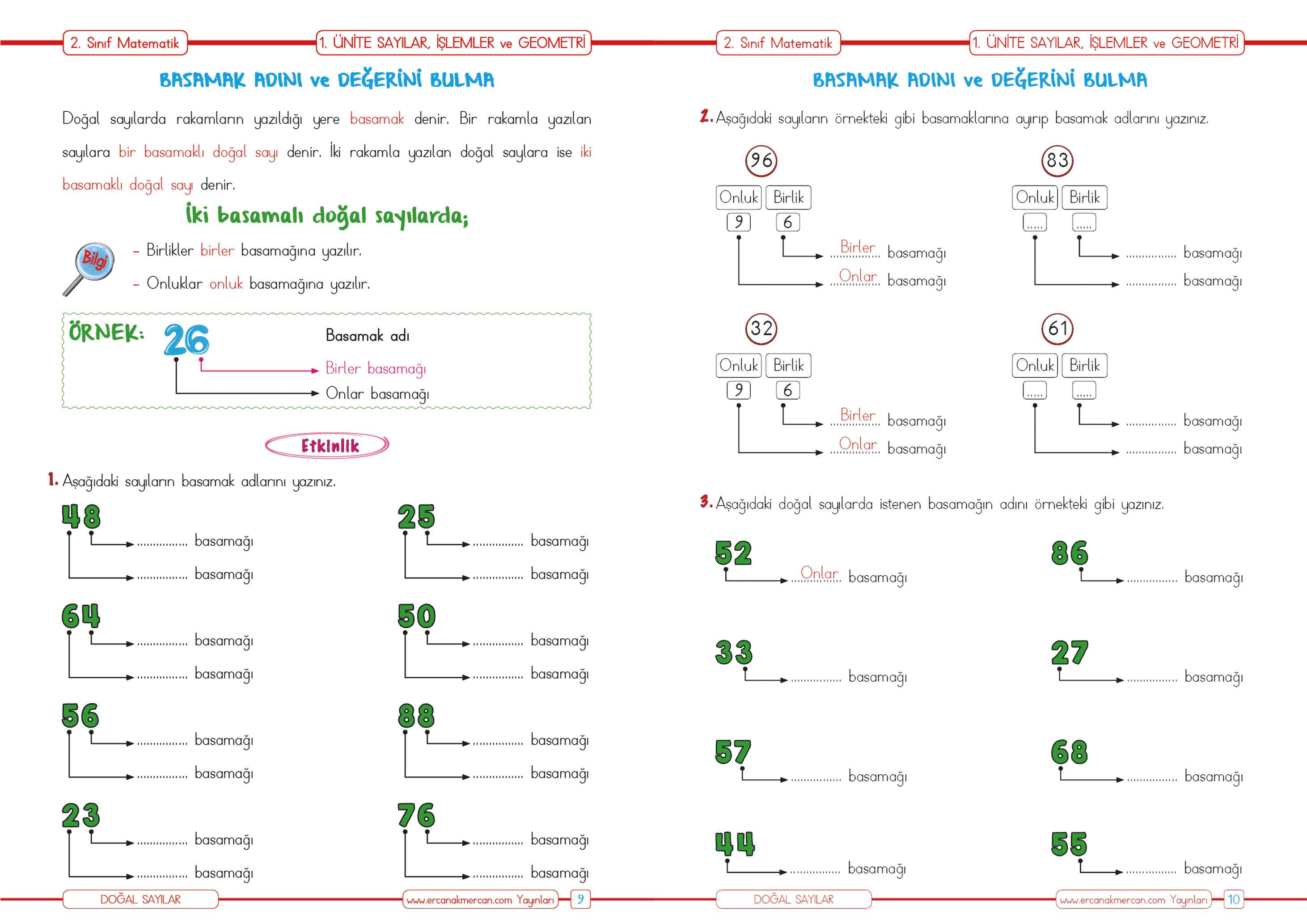 2 Sinif Matematik Dogal Sayilarin Basamak Adi Ercan Akmercan