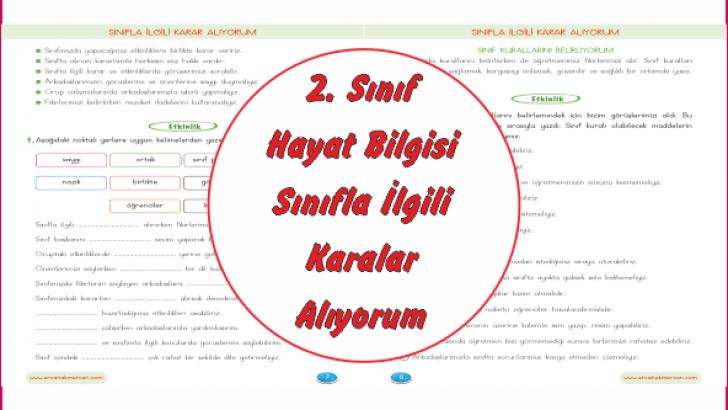 2 Sinif Hayat Bilgisi Sinifla Ilgili Karar Aliyorum Ercan Akmercan