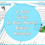 2. Sınıf Türkçe İş Oluş Hareket Bildiren Kelimeler