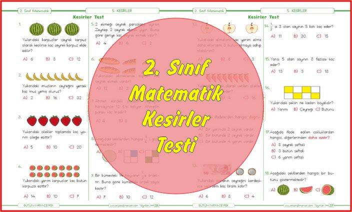 2. Sınıf Matematik Kesir Konusu Test