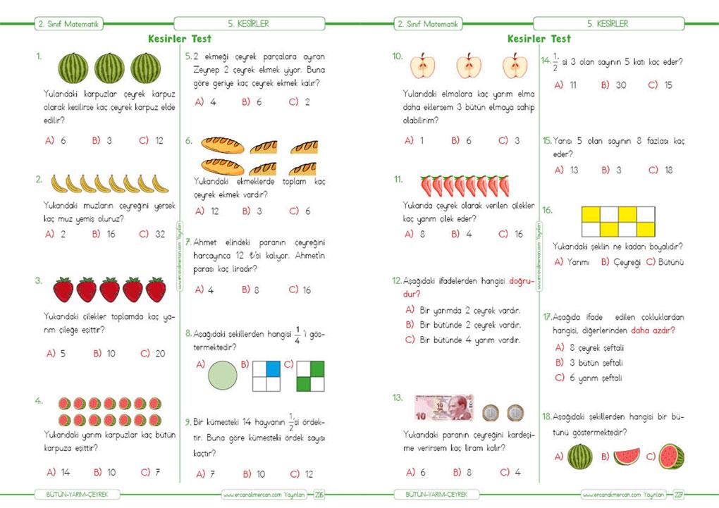 2. Sınıf Kesir konusu test