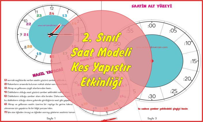 2. Sınıf Matematik Saat Modeli Kes Yapıştır Etkinliği